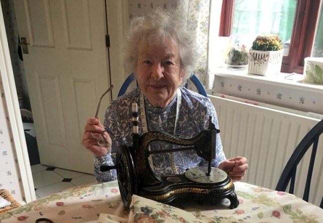 92-year-old Connie Diggle has been diligently sewing scrub bags for the NHS on her 75-year-old sewing machine. See SWNS story SWLEsewing; One of the UK?s oldest volunteers is helping sew scrub bags for front-line NHS staff using a sewing machine she bought for ?1 - nearly 75 YEARS ago. Caring Connie Diggle, 92, has spent an hour each evening diligently making scrub bags from scratch on a sewing machine she bought in 1947. In two weeks the hard-working grandmother-of-two has hand-made 65 scrub bags and she says she will keep on going for as long as they need her to. The nonagenarian has praised front-line workers for their ?life saving? work and said it was critical that communities banded together in difficult times. She has been sending weekly deliveries to the Scrubs Hub group who are a community driven project who are making scrubs and other necessities for the NHS.