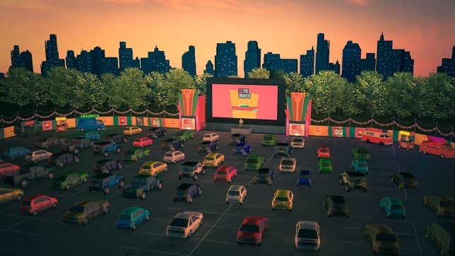 illustration of the drive in cinema