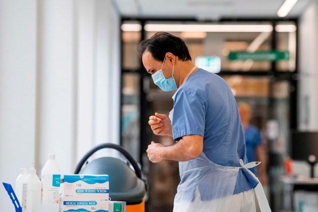 Hospital worker wearing PPE