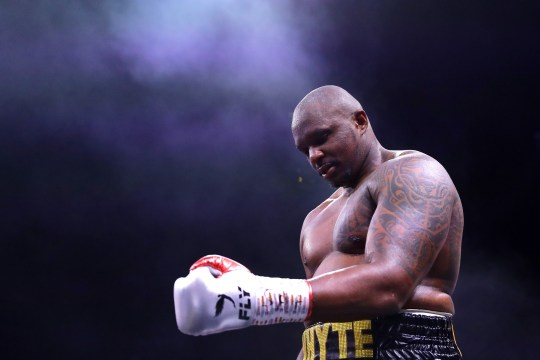 DIRIYAH, SAUDI ARABIA - DECEMBER 07: Dillian Whyte reacts to victory over Mariusz Wach after the Heavyweight fight between Dillian Whyte and Mariusz Wach during the Matchroom Boxing 'Clash on the Dunes' show at the Diriyah Season on December 07, 2019 in Diriyah, Saudi Arabia (Photo by Richard Heathcote/Getty Images)