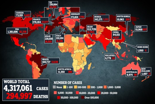 Map shows the number of coronavirus cases and deaths