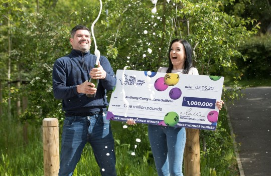 Handout photo dated 13/05/20 issued by the National Lottery of Anthony Canty, 33, from Maldon in Essex, who won ??1 million in the Euromillions UK Millionaire Maker draw on May 5 celebrating with his partner Katie Sullivan. PA Photo. Issue date: Thursday May 14, 2020. See PA story LOTTERY Canty. Photo credit should read: National Lottery/PA Wire NOTE TO EDITORS: This handout photo may only be used in for editorial reporting purposes for the contemporaneous illustration of events, things or the people in the image or facts mentioned in the caption. Reuse of the picture may require further permission from the copyright holder.