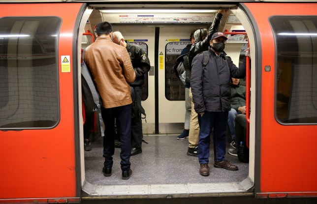 Commuters on the tube in London