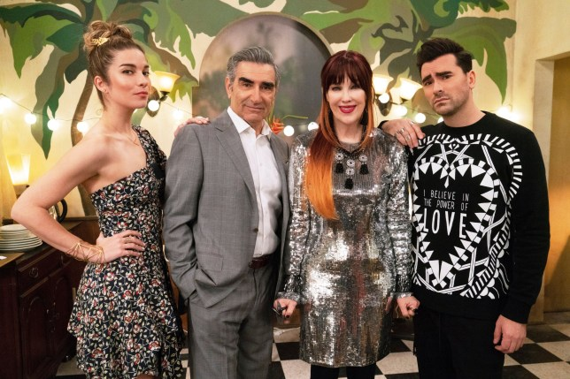 Annie Murphy as Alexis Rose, Eugene Levy as Johnny Rose, Catherine O'Hara as Moira Rose and Daniel Levy as David Rose from Schitt's Creek