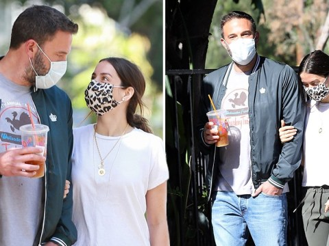 Ben Affleck and Ana de Armas look seriously smitten as they enjoy a lockdown dog walk in face masks