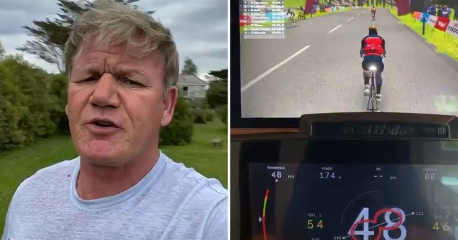 Gordon Ramsay pokes fun at backlash from his neighbours on indoor bike ride (Picture: @gordongram/Instagram)