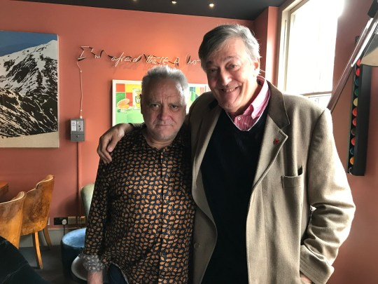 Television programme, 'Horizon: What's the Matter with Tony Slattery?' - TX BBC: n/a - Picture Shows: Tony Slattery, Stephen Fry - (C) Sundog Pictures - Photographer: Sunddog Pictures