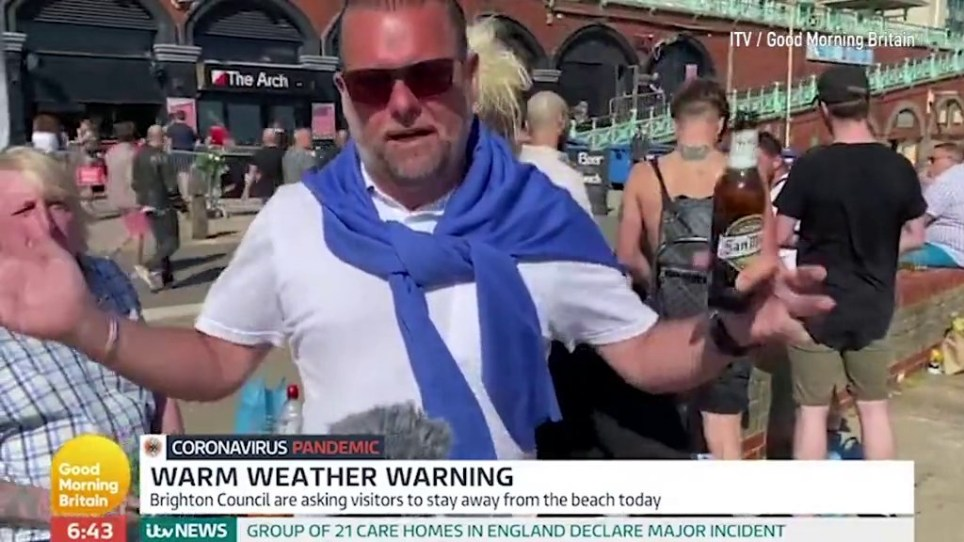 Beer drinkers on beach complain about lockdown picture: ITV/ gmb METROGRAB