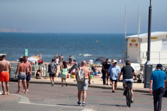 People enjoy the hot weather in Bournemouth, Dorset