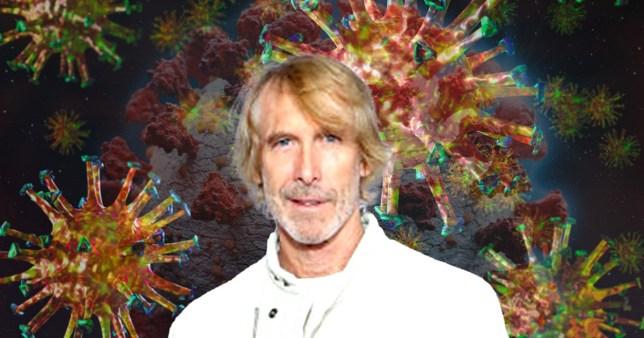 Michael Bay with a coronavirus background.