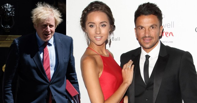 Peter Andre and wife Emily Macdonagh pictured alongside Boris Johnson