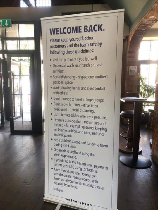 A list of rules for reopening Wetherspoons, such as making contactless payments and using hand sanitizer regularly