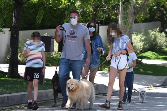 Brentwood, CA - Ben Affleck and Ana de Armas spend the morning with his kids while walking the dogs. Pictured: Ben Affleck, Ana de Armas, Violet Affleck, Seraphina Rose Elizabeth Affleck, Samuel Garner Affleck BACKGRID USA 23 MAY 2020 USA: +1 310 798 9111 / usasales@backgrid.com UK: +44 208 344 2007 / uksales@backgrid.com *UK Clients - Pictures Containing Children Please Pixelate Face Prior To Publication*