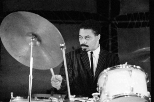 Drummer Jimmy Cobb performing on stage