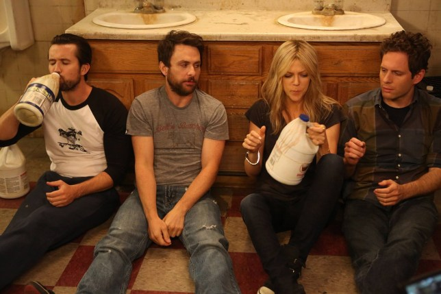Editorial use only. No book cover usage. Mandatory Credit: Photo by Bluebush Productions/Rch/Kobal/REX (5886199ci) Rob McElhenney, Charlie Day, Kaitlin Olson, Glenn Howerton It's Always Sunny In Philadelphia - 2005-2011 Bluebush Productions/3 Art Entertainment/Rch USA Television Tv Classics