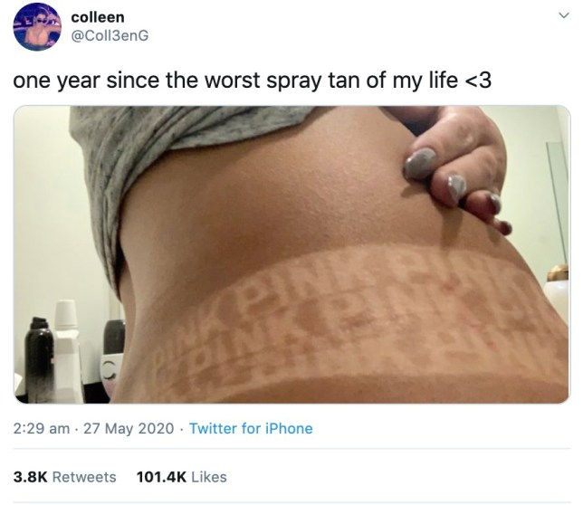 A woman was horrified when she was left with a huge Victorias Secret logo on her midriff after a spray tan.