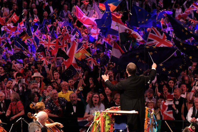 Sakari Oramo conducts the BBC Symphony Orchestra, the BBC Singers and the BBC Symphony Chorus in the Last Night of the Proms 2017. Featuring: Sakari Oramo Where: London, United Kingdom When: 09 Sep 2017 Credit: BBC/Mark Allan/Supplied by WENN.com Fans waving Union Jack and European Union flags. **WENN does not claim any ownership including but not limited to Copyright, License in attached material. Fees charged by WENN are for WENN's services only, do not, nor are they intended to, convey to the user any ownership of Copyright, License in material. By publishing this material you expressly agree to indemnify, to hold WENN, its directors, shareholders, employees harmless from any loss, claims, damages, demands, expenses (including legal fees), any causes of action, allegation against WENN arising out of, connected in any way with publication of the material.**