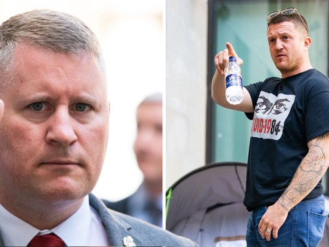 Tommy Robinson supports Britain First leader in court for terror charge