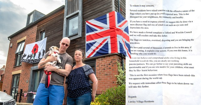 couple get poison pen letter branding Union and VE day flags tasteless 'you are bringing the area down'