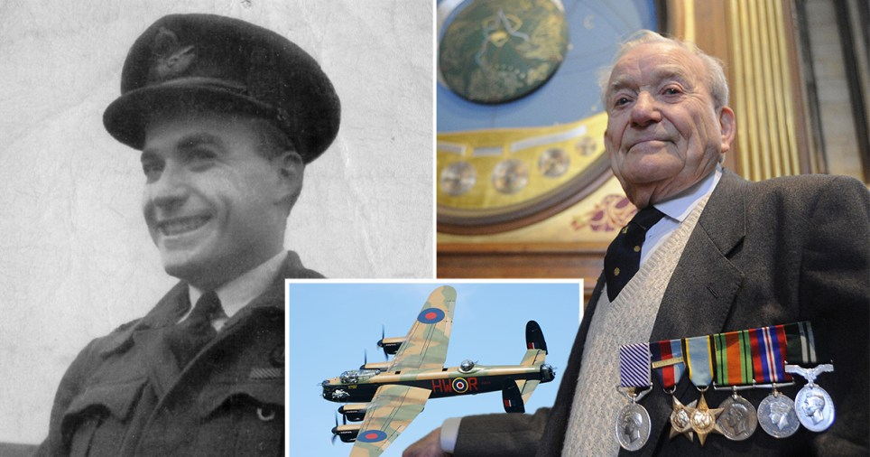 Battle of Britain RAF veteran Terry Clark who died hours before he 75th anniversary of VE Day on June 8 2020 and photo of Lancaster bomber