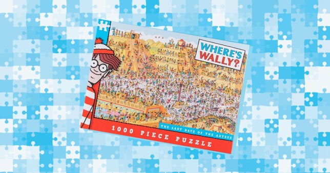 where's Wally jigsaw on colourful background