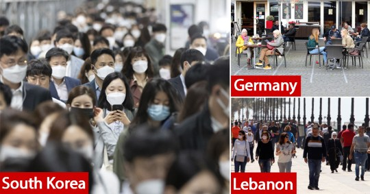 Crowds of people in South Korea, Lebanon and Germany as countries begin to ease coronavirus restrictions and have seen clusters of new cases.