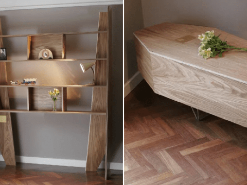 Man creates bookshelf that can be turned into coffin when owner dies