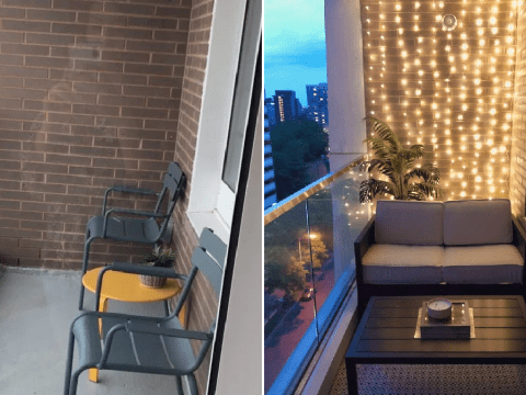 Woman transforms her balcony into lockdown haven