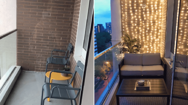 The before and after photo of the balcony transformation.