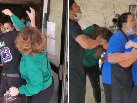 Screeching woman gets in vicious Mother's Day brawl with workers at lobster restaurant