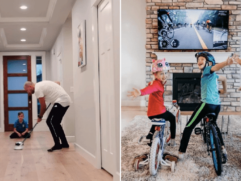 Dad starts home Olympic games including bobsledding and curling to entertain kids during lockdown