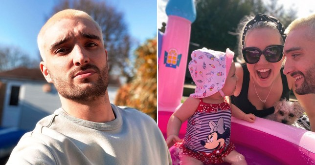 Tom Parker from The Wanted pictured with wife Kelsey and daughter Aurelia sitting in paddling pool