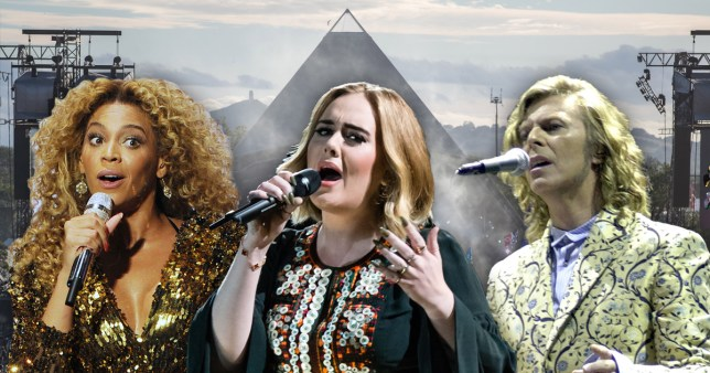 Glastonbury performers Beyonce, Adele and David Bowie
