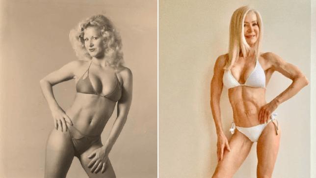 Woman in a bikini 40 years ago and now