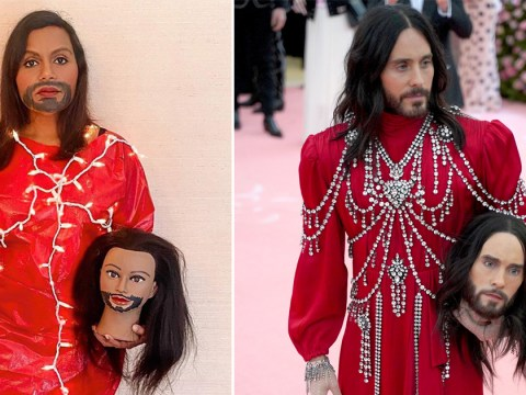 Mindy Kaling has recreated Jared Leto's iconic Met Gala outfit and it is everything