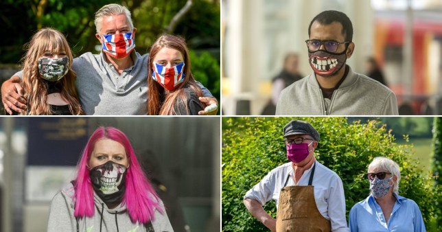 a selection of people wearing their own face masks