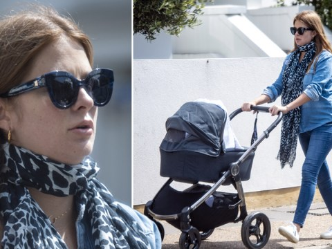 Millie Mackintosh makes for a cool mum in double denim as she proudly pushes newborn daughter on daily lockdown walk