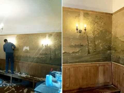 Landlords redecorating their pub discover mural that had been hidden under wallpaper for 50 years