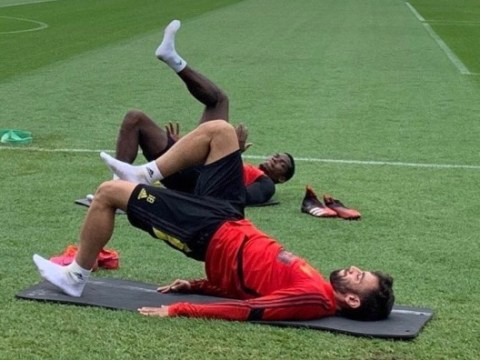 Luke Shaw reveals how Paul Pogba and Bruno Fernandes fared in first training session together