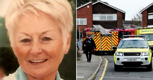 Jennifer Cronin, 72, and the scene at her home in Benfleet, Essex after she was set alight and killed by estranged son-in-law Kieren Lynch