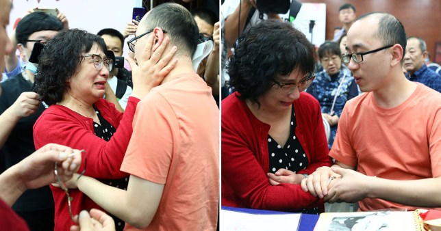 Li Jingzhi and Mao Zhenjing are reunited with their son Mao Yin - now 34 - who was snatched from a hotel in 1988 in China