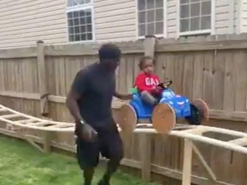 Man builds incredible garden roller coaster for his grandson