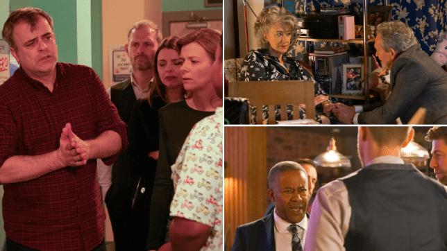Steve, Leanne, Tracy, Nick, Evelyn, Arthur, Ed and Don in Coronation Street