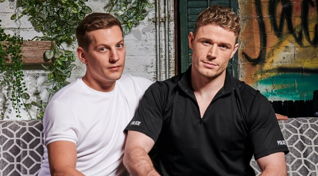 John Paul McQueen and PC George Kiss in Hollyoaks