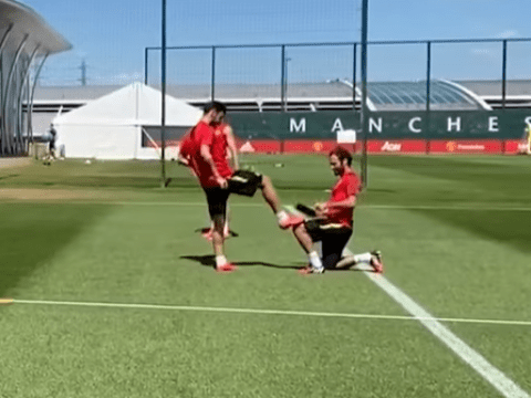 Juan Mata shines Bruno Fernandes' boot after stunning free-kick in Manchester United training