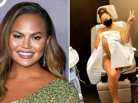 Chrissy Teigen urges fans to keep up with their smear tests while rocking paper sheet and face mask