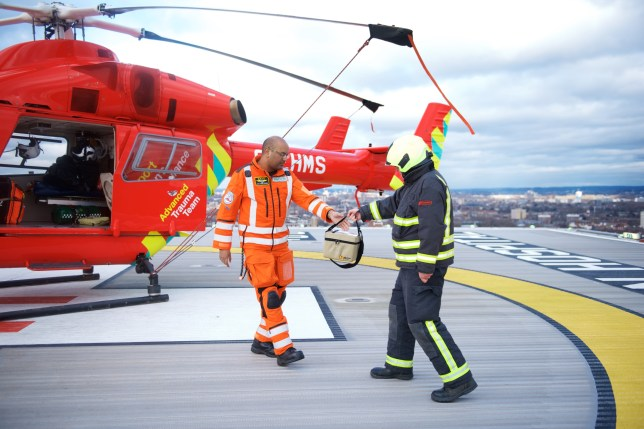 Picture of London's Air Ambulance on its helipad
