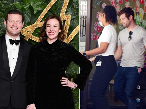 Dermot O'Leary is a doting new dad as he leaves hospital with wife Dee Koppang after welcoming son