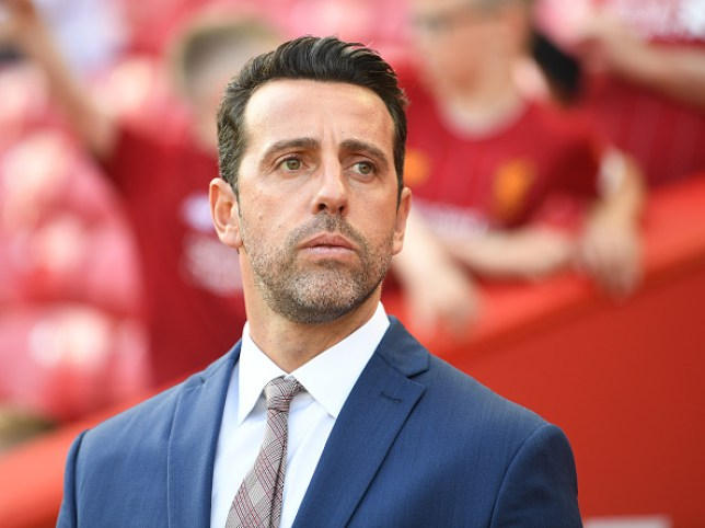 Edu looks on during Arsenal's Premier League clash with Liverpool