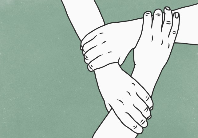illustration of people holding one another's wrists